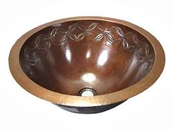 Picture of SALE Large Copper Sink with Joining Rings Design in Cafe Natural with Flat Rim