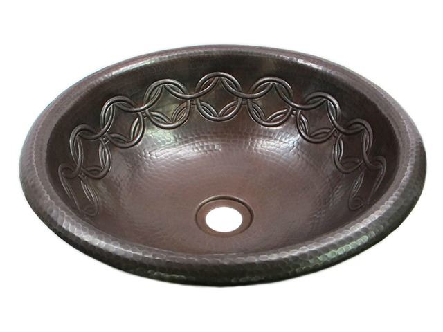 Picture of SALE Large Copper Sink with Joining Rings Design in Dark Smoke with Rolled Rim