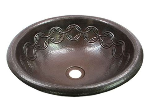 SALE Large Copper Sink with Joining Rings Design in Dark Smoke with Rolled Rim