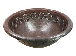 Picture of SALE Large Copper Sink with Joining Rings Design in Rio Grande with Rolled Rim