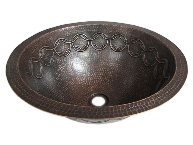 Picture of SALE Large Copper Sink with Joining Rings Design in  Rio Grande with Flat Rim