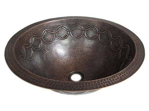 SALE Large Copper Sink with Joining Rings Design in  Rio Grande with Flat Rim