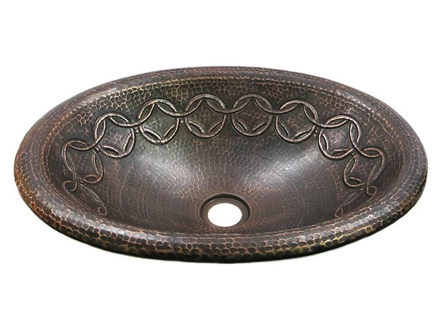 Picture of SALE Medium Oval Copper Sink with Joining Rings Design in Rio Grande with Rolled Rim
