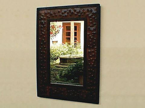Medium Square Hammered Metal Mirror