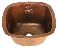 "15"" Copper Bar Sink w/Rounded Edge - Grapes by SoLuna"
