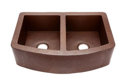 "Picture of 33"" Rounded Front Copper Farmhouse Sink - 50/50 by SoLuna"