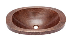 "21"" Oval Copper Bathroom Sink w/Raised Rim by SoLuna"