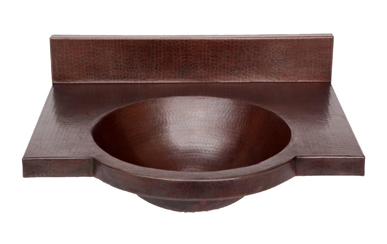 """24"""" Wall-Mount Round Copper Bathroom Sink by SoLuna"""