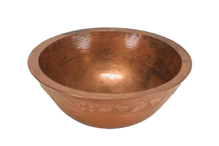 "Picture of 18"" Colina Copper Vessel Sink - Floral by SoLuna"