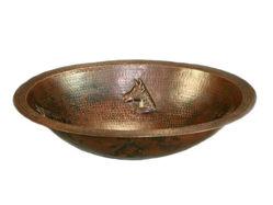 "19"" Oval Copper Bathroom Sink - Horse by SoLuna"