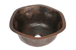 Picture of Hexagon Grape Cluster Design Copper Prep Sink By SoLuna