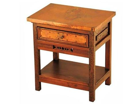 Taos Nightstand with Copper Panels