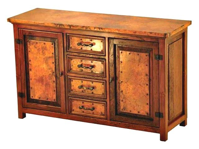 Picture of Francisco Copper and Old Wood Buffet - 2 Doors and 4 Drawers