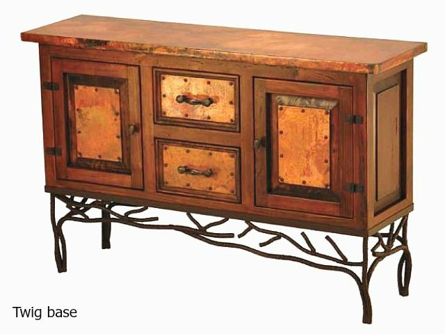 Picture of Old Wood and Copper Console with 2 Doors & 2 Drawers - 3 styles