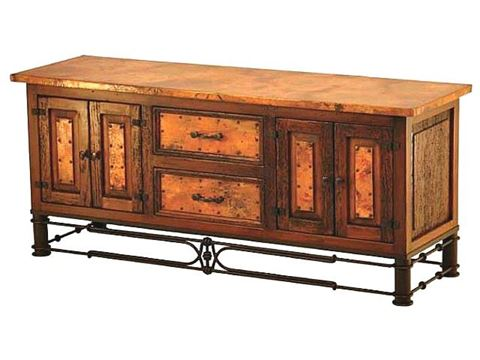 Nancy TV Stand with Copper Panels