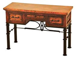 Picture of 3-Drawer Writing Desk with Wrought Iron Base