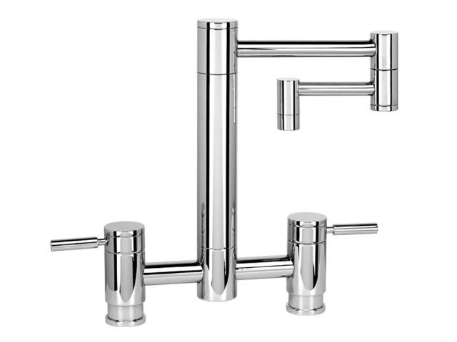 """Picture of Waterstone Hunley Bridge Kitchen Faucet with 12"""" Articulated Spout"""