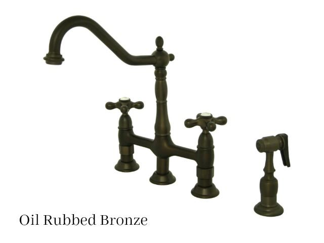 Picture of Kingston Brass Heritage Bridge Kitchen Faucet with Side Spray