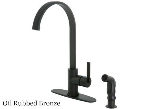 Kingston Brass Continental Single Handle Kitchen Faucet with Side Spray