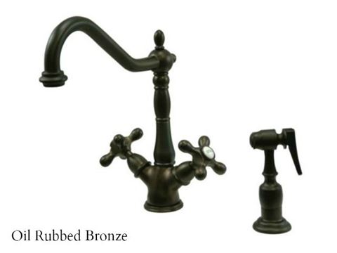 Kingston Brass Heritage Deck Mount Kitchen Faucet with Side Spray