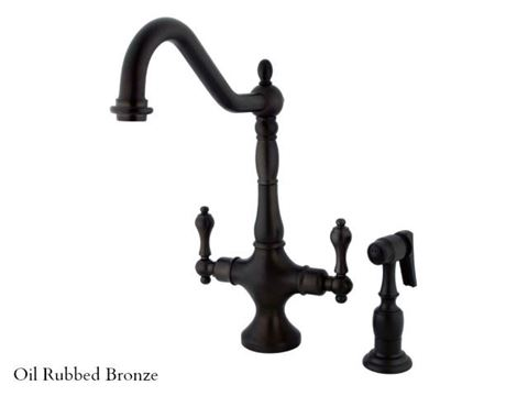 Kingston Brass Heritage Single Post Kitchen Faucet with Spray