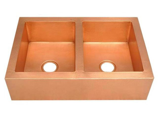 "Picture of 33"" Copper Farmhouse Sink - 50/50 by SoLuna"