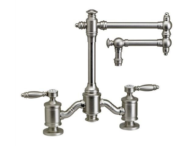 """Picture of Waterstone Towson 12"""" Articulated Spout Bridge Kitchen Faucet - Lever Handles"""