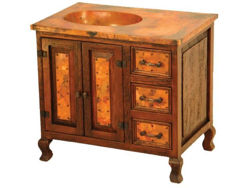 San Miguel Wood and Copper Vanity