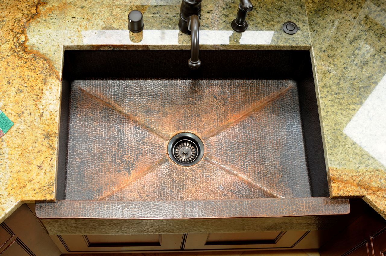 "Picture of 33"" Fruit Bandolier Copper Farmhouse Sink- SALE"