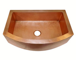 """30"""" Rounded Front Copper Farmhouse Sink by SoLuna"""