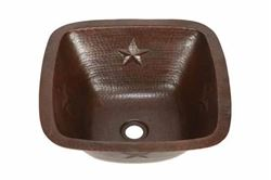 "Picture of 15"" Copper Bar Sink w/Rounded Edge - Stars by SoLuna - SALE"