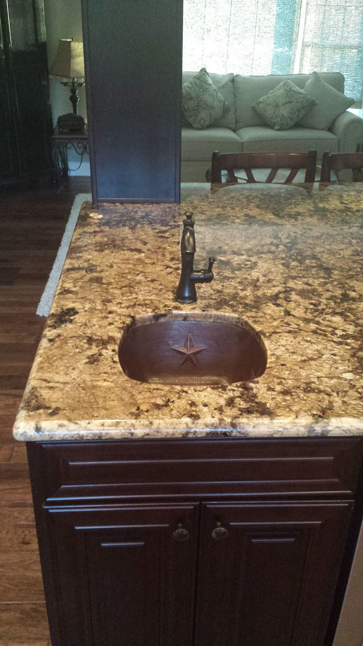 """Picture of 15"""" Copper Bar Sink w/Rounded Edge - Stars by SoLuna - SALE"""