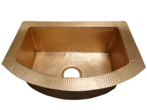 Rounded Front Single Well Copper Kitchen Sink by SoLuna
