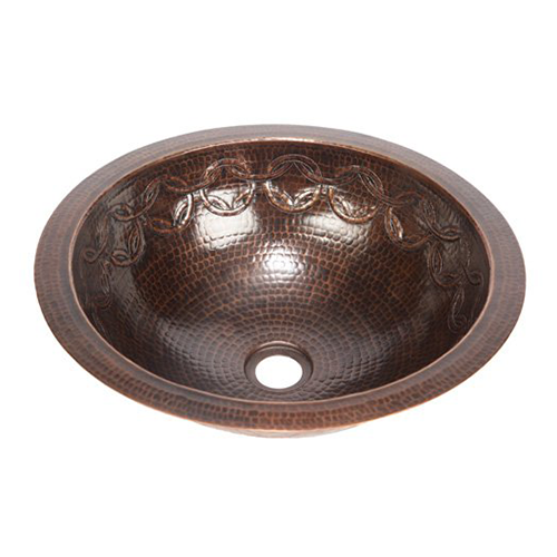 """15"""" Round Copper Bathroom Sink - Joining Rings by SoLuna"""