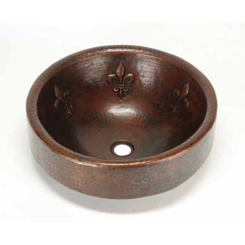 "Picture of 17"" Prescenio Copper Vessel Sink - Fleur de Lis by SoLuna"
