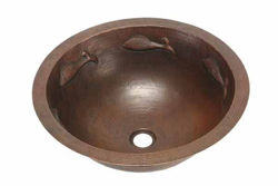 "Picture of 17"" Round Copper Bathroom Sink - Pescado with Rolled Rim by SoLuna"