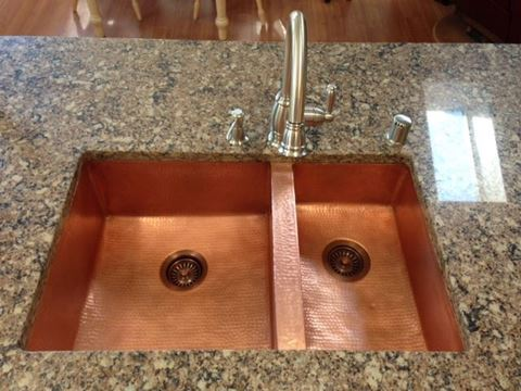 "33"" Double Well Copper Kitchen Sink - 60/40 by SoLuna - Matte Copper"