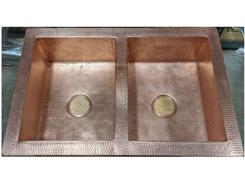 "33"" Hammered Copper 50/50 Kitchen Sink in Matte Copper - Sale"
