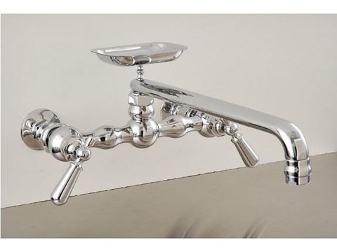 "Strom Plumbing 12"" Swivel Spout Wall-Mount Kitchen Faucet with Soap Dish & Lever Handles"