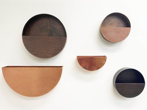 Half Round Hanging Copper Wall Planters by SoLuna