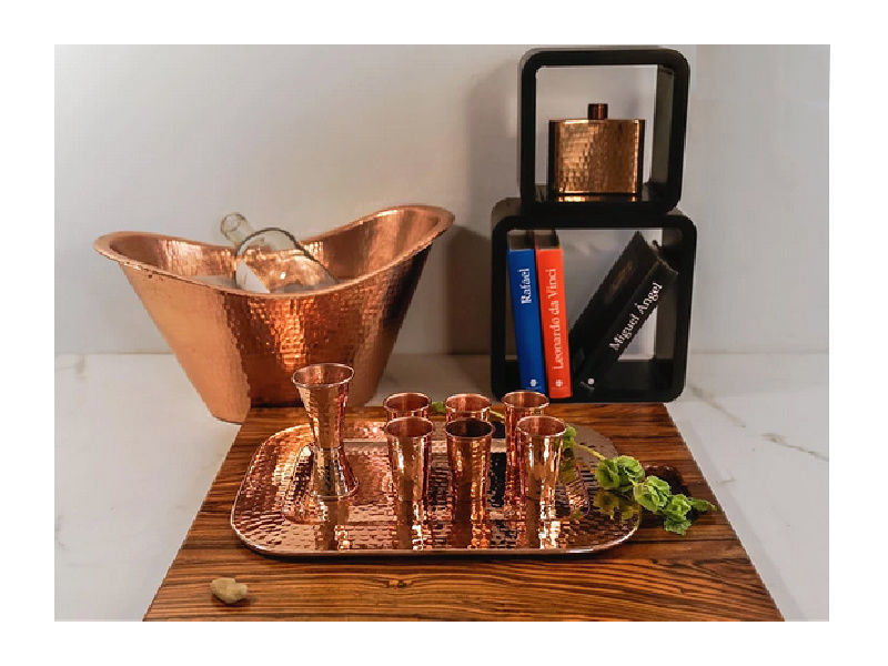 Picture of Horizon Polished Copper Rectangular Hip Flask By SoLuna