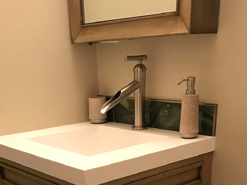Picture of Sonoma Forge | Bathroom Faucet | Brut Waterfall Spout | Deck Mount
