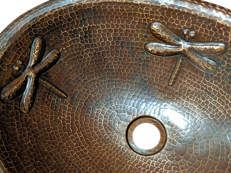 """Picture of 19"""" Oval Copper Bathroom Sink - Dragonfly by SoLuna"""