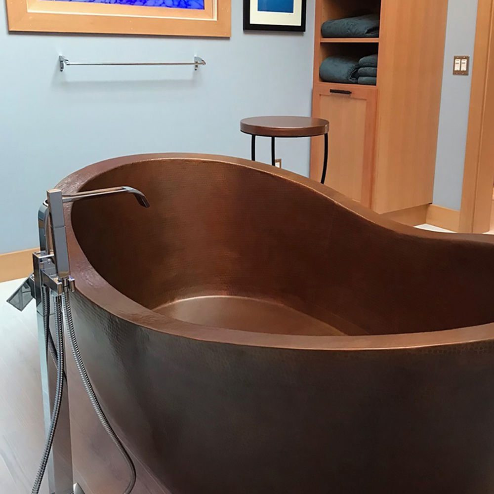 Double-Wall Boat Style Copper Bathtub by SoLuna