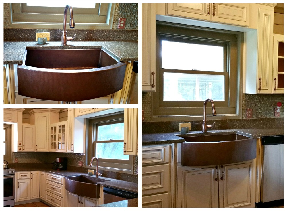 Copper farmhouse kitchen sink installation