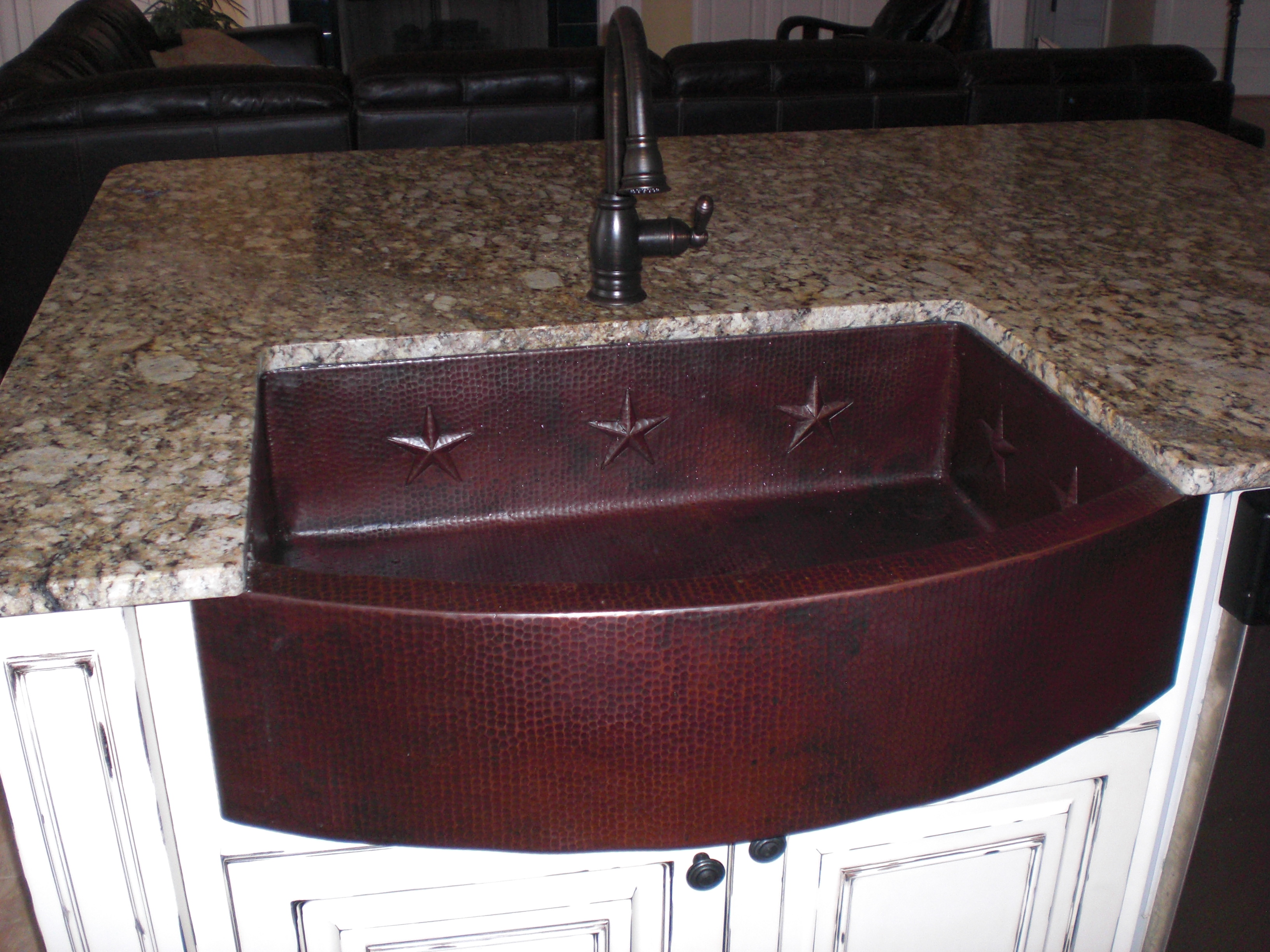 CK7526L35 Copper Farmhouse Sink - Dark Smoke