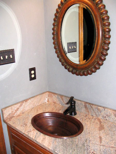 CS1031L15 Copper Bathroom Sink - Dark Smoke