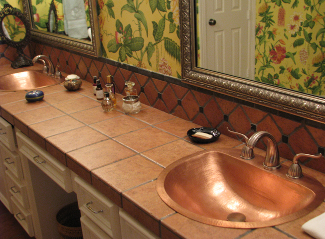 Ehlers Master Bath, His and Hers Durango Copper Bath Sinks