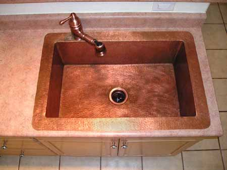 High Quality CK7001S35 Copper Kitchen Sink   Matte Copper