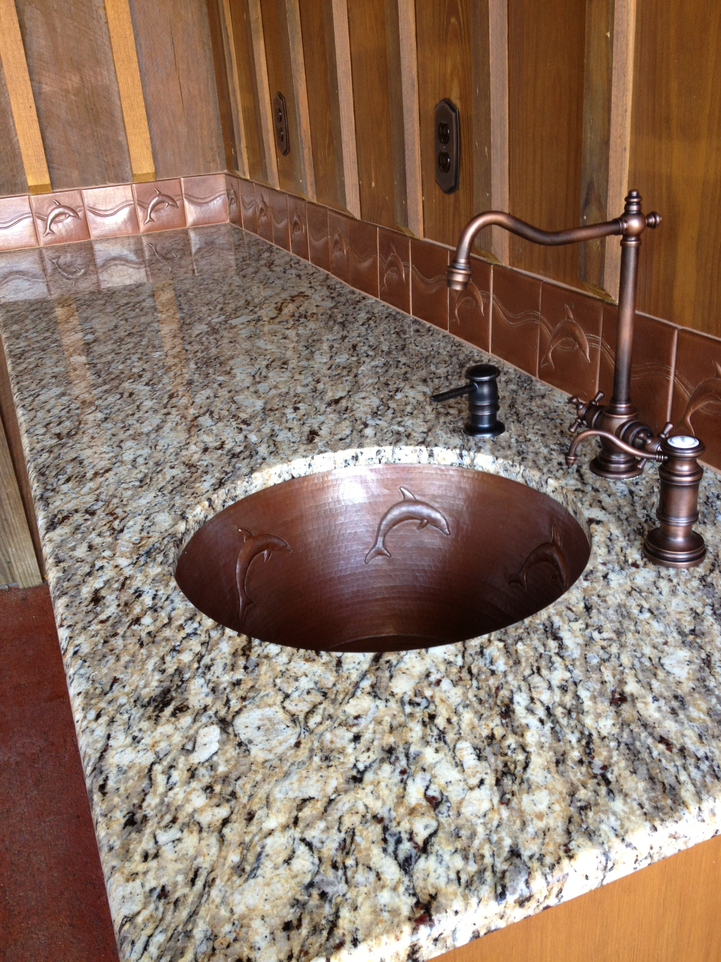 CB0001J20 Copper Bar Sink - Custom - Cafe Natural